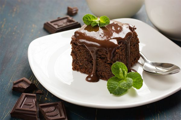 chocolate brownies on dark background